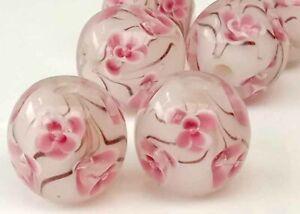 10pcs-handmade-Lampwork-glass-Beads-round-14mm-pink-flower