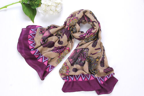 Long Viscose Scarf Maroon Theme King/'s Mace Print COT203