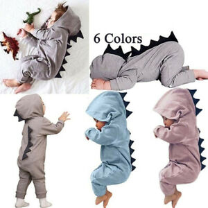 Newborn-Infant-Baby-Boy-Girl-Dinosaur-Hooded-Romper-Jumpsuit-Clothes-Outfit-New