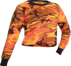 Image is loading Womens-Orange-Camouflage-Crop-Top-Long-Sleeve-T- 13fb014dc6d