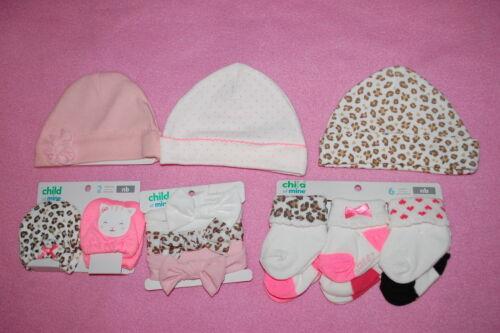 Baby Girls BABY SHOWER LOT Carter/'s HATS HEADBANDS SOCKS MITTENS Size Newborn