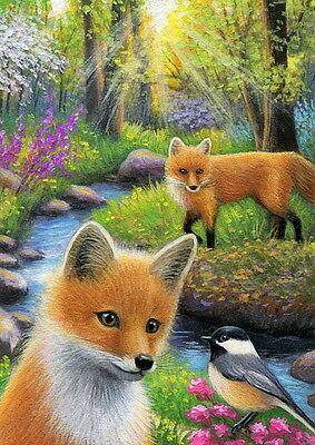 Red fox bird forest stream wildlife landscape OE aceo print art