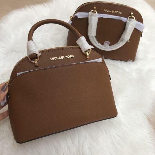 da1ff1ed17 Michael Kors Emmy Luggage Leather SM Dome Satchel bag 35h7sy3s1l for sale  online
