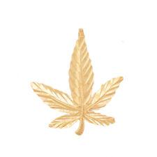7-Leaf Cannabis Hemp Marijuana Plant Rastafari Pot Charm 14k Yellow Gold Pendant