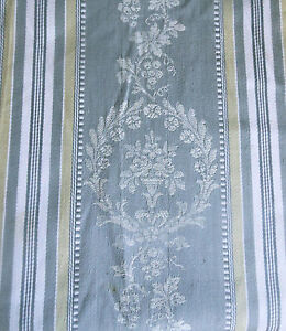 Antique-French-Floral-Wreath-Urn-Cartouche-Stripe-Ticking-Fabric-Gray-Oliv-Gold
