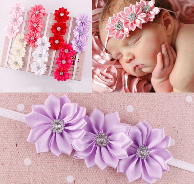 Baby girl Headband Soft Ribbon Flower Hair Band 7 Colors Chic Znw