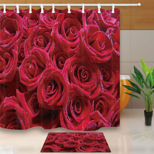 Red Rose Flowers Shower Curtain Home Bathroom Decor Fabric /& 12hooks 71*71inches