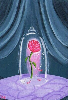 ACEO Limited Edition Print Of Original by K Maas, Enchanted Rose, Beauty & Beast