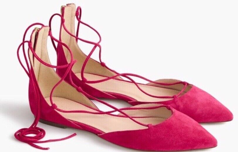 NWOB JCREW  168 Suede lace-up pointed-toe flats flats flats Taille9.5 Fuchsia Bloom rose G0880 6a9fba