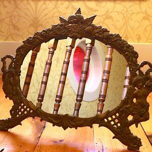 Antique Victorian Gold Bronze Cast Iron Oval Mirror Frame