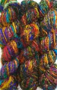 30 Skeins Himalaya Recycled PURE Silk SARI Fabric Knit Crochet Woven Yarn