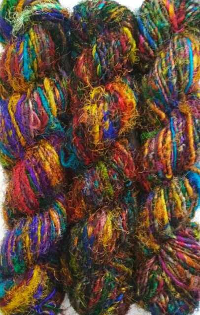 100Grams Himalaya Recycled Soft Pure Sari Silk Yarn Knit Woven 1 Skein