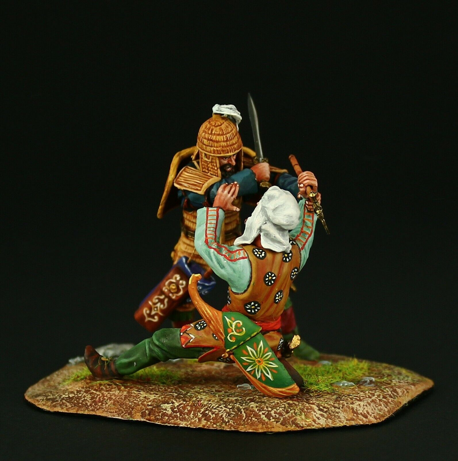 Elite  Scythian warrior killing a Persian Tin toy soldier 54 mm, metal sculpture