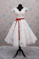 C363 short wedding dress bridal gown cap sleeves lace tea length knee vintage