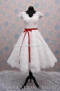 C363-short-wedding-dress-bridal-gown-cap-sleeves-lace-tea-length-knee-vintage