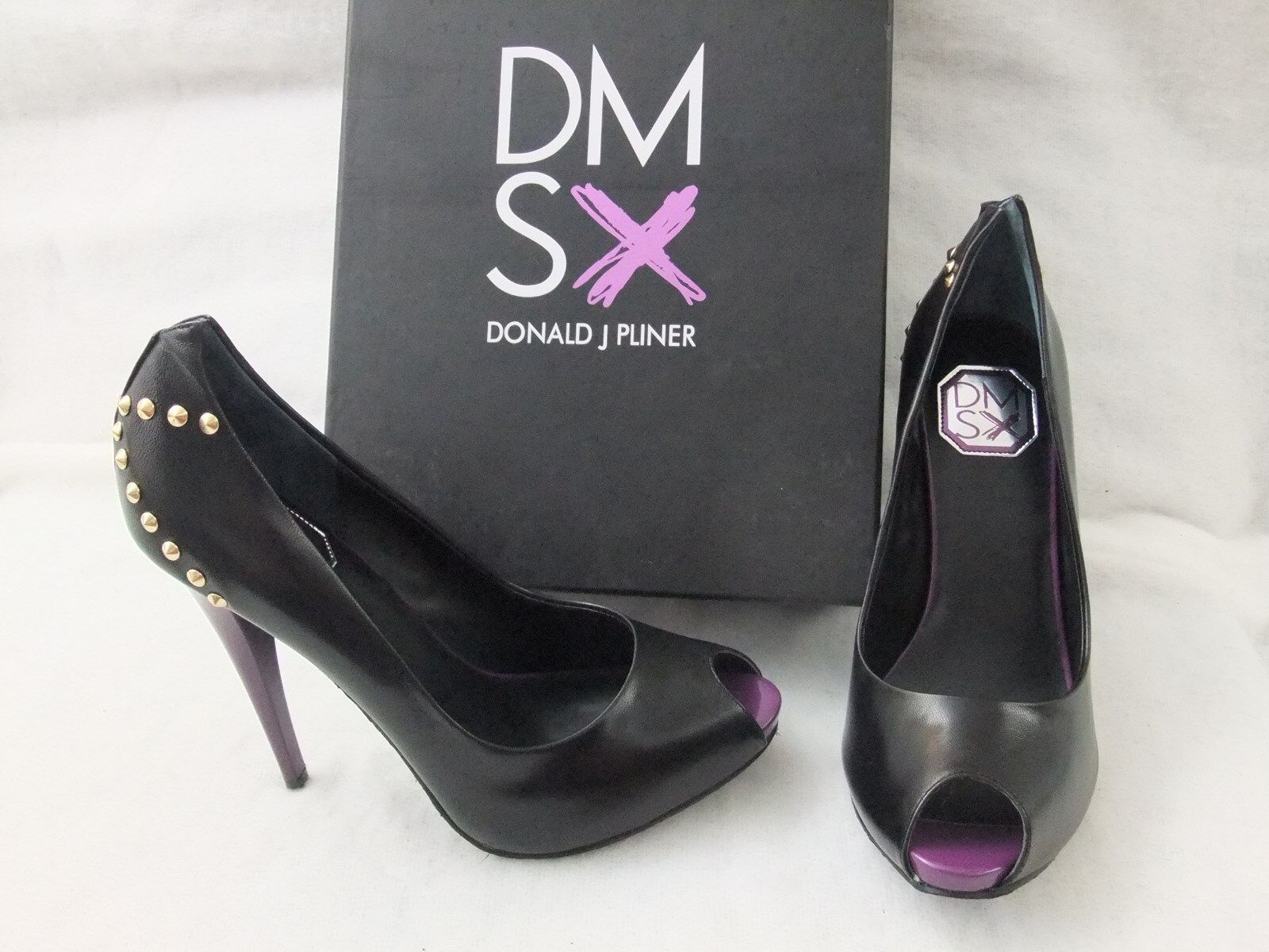 DONALD DONALD DONALD J PLINER DMSX Latoya Black Leather Heel Stiletto Pump Size 8.5 NIB  148 ae6815