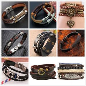 Fashion-Punk-Women-Men-Multilayer-Wrap-Leather-Braided-Cuff-Bracelet-Wristband