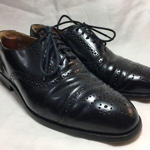 Bass Men's Black Leather Capped Toe Lace Up Oxfords Sz.9.5