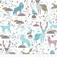 Fabric 100% Cotton Camelot Snowfall Woodland Animals