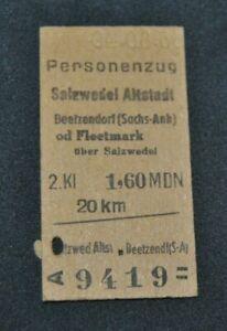 Fahrkarte DR  Reichsbahn Salzwedel Altstadt - Beetzendorf / Fleetmark von1966