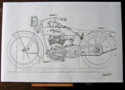 details about harley davidson early j military motorcycle engine diagram  blueprint art poster