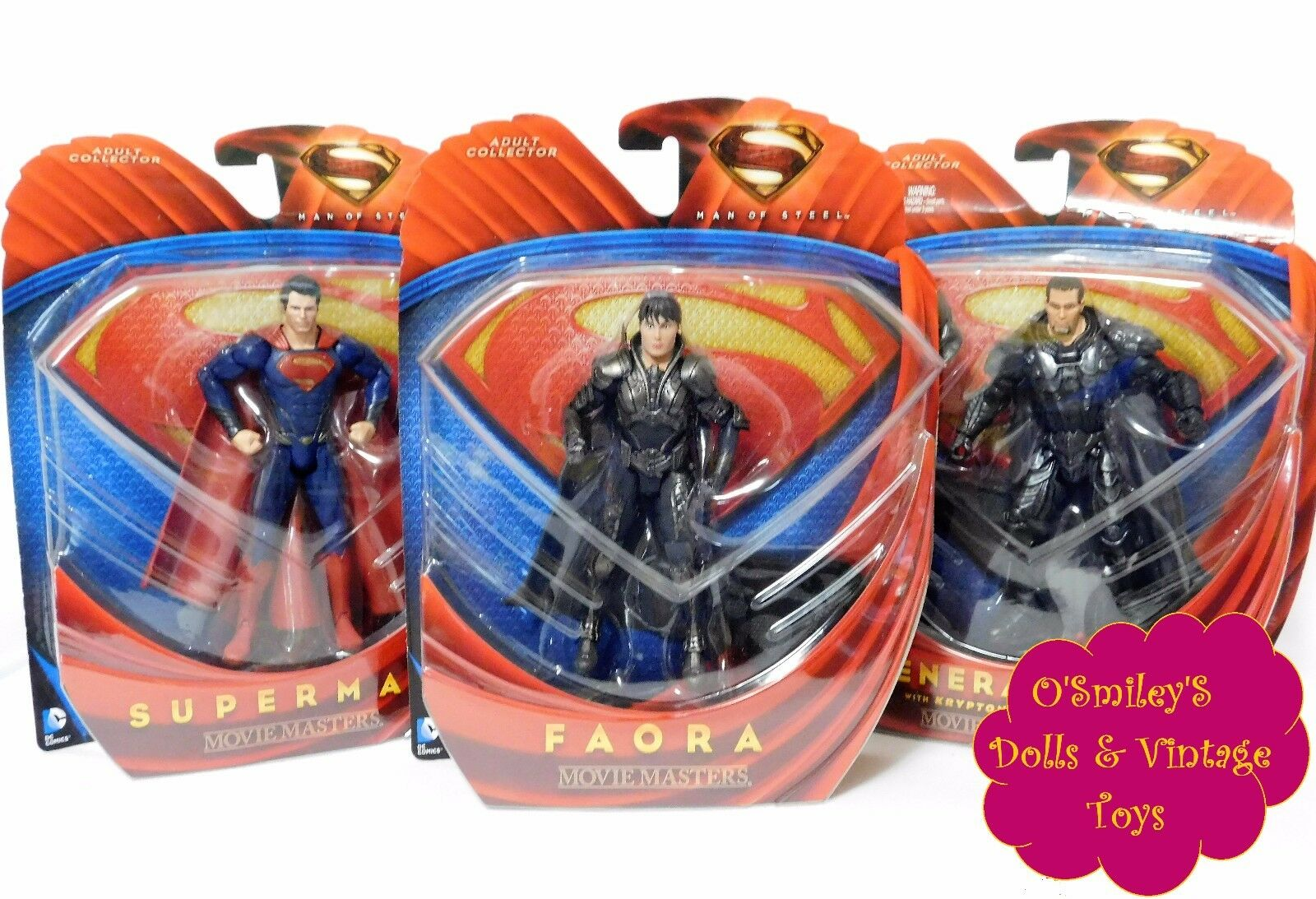 MAN OF STEEL SUPERMAN U FIORA U GENERAL ZOD 2013 Movie Masters Mattel Set of 3 u MOC