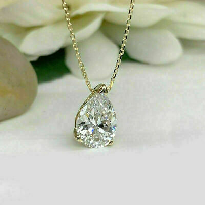 3Ct Round Cut Diamond Solitaire Pendant Necklace 14K Yellow Gold Over Free Chain