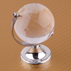 4cm-Klar-Glas-Globus-Glaskugel-Erde-Kristall-Erdkugel-Tischplatte-Stand-Geschenk