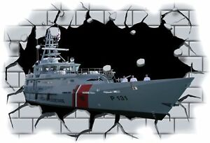 Huge-3D-Navy-Battleship-Crashing-through-wall-View-Wall-Sticker-Mural-Decal-70