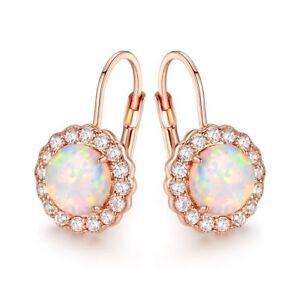 18K-Rose-Gold-Plated-White-Fire-Opal-amp-Cubic-Zirconia-Flower-Huggie-Earrings