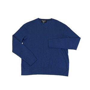 Banana Republic Mens Medium 100% Extra Fine Merino Wool V Neck Sweater Blue