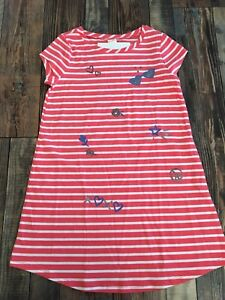 GYMBOREE-NWT-Mix-N-Match-Stripe-Print-Knit-Coral-Orange-Dress-Girls-Size-S-5-6