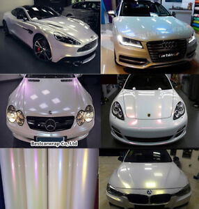 5 Colors Glossy Pearl White Chameleon Vinyl Wrap Car Film Sticker