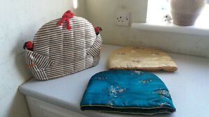 3-X-VINTAGE-MATERIAL-TEA-POT-COSIES-COSY-INCL-CHINESE-ORIENTAL