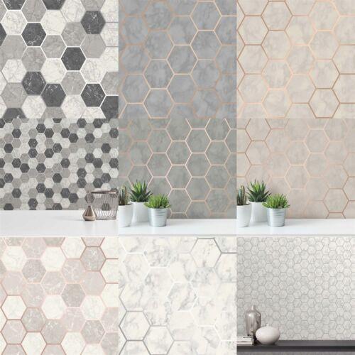 Hexagon Geometric Marble Wallpaper Kitchen Silver Rose Gold Metallic Vinyl Crown