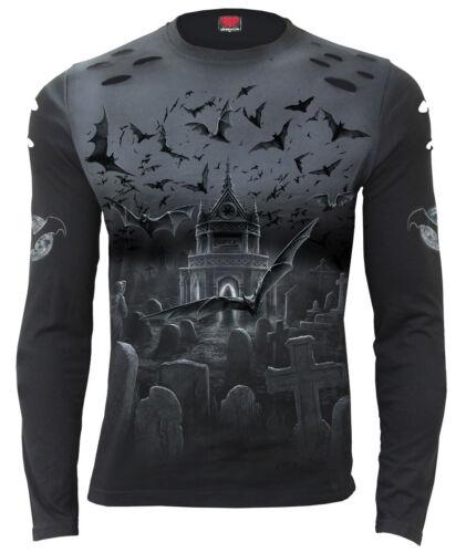 Spiral Direct Nightshift manches longues T-shirt//Biker//Gothique//Noir//Bats//Croix//Top
