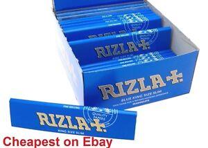 RIZLA-BLUE-KING-SIZE-SLIM-GENUINE-CIGARETTE-SMOKING-ROLLING-PAPERS-ORIGINAL