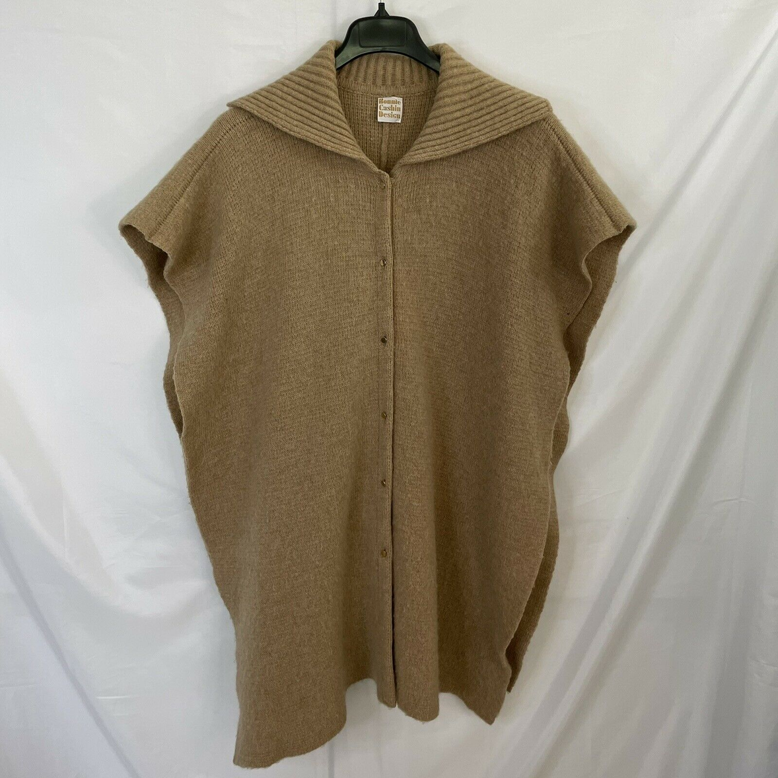 Bonnie Cashin Camel Knit Sweater Cape Poncho Coat - image 2