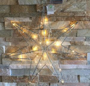 XXL-Lichterstern-30-LED-Stern-Draht-Silber-Fensterstern-Fensterlicht-Advent-50cm