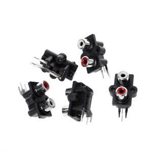 5Pcs-PCB-Mount-2-RCA-Female-Stereo-Aux-Audio-Video-Jack-AV-Socket-Connector