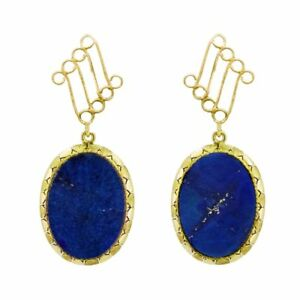 Awesome-yellow-gold-estate-dangle-earrings-lapis-lazuli-pyrite-special-M-F