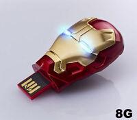 MARVEL AVENGERS USB FLASH DRIVE 8GB IRON MAN 3 MARK 42 MASK LED NEW