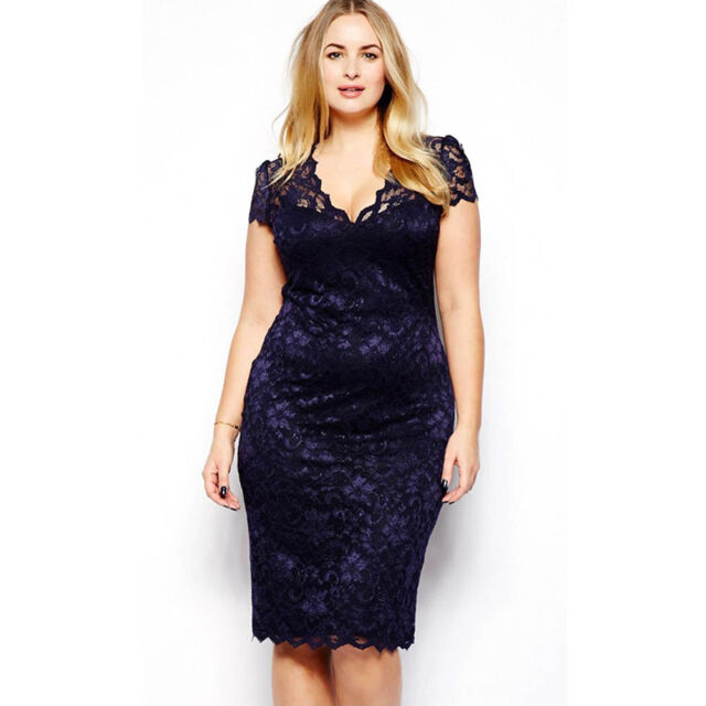 WOMEN CUT COCKTAIL CHIC LACE BODYCON FORMAL DRESS EVENING PARTY PLUS SIZE CLUB