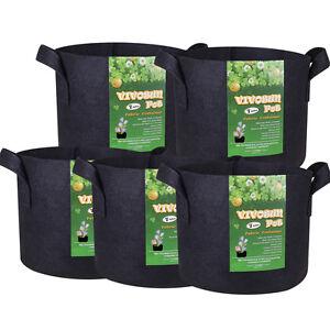 VIVOSUN-5-Pack-Fabric-Plant-Pots-Grow-Bags-w-Handles-3-5-7-10-15-20-25-Gallon