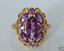 Beautiful 9ct Gold Natural Amethyst Ring Size R