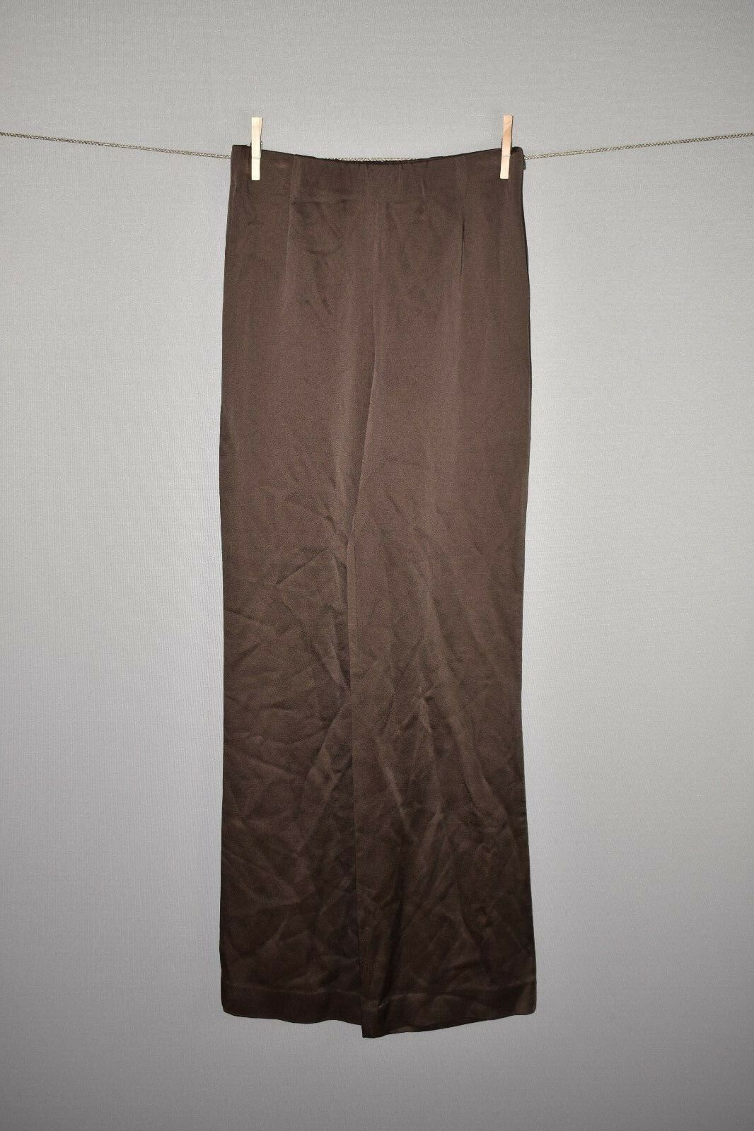 LAFAYETTE 148 NEW YORK NEW  348 Espresso Luxe Crepe Wide Leg Pant Size 4