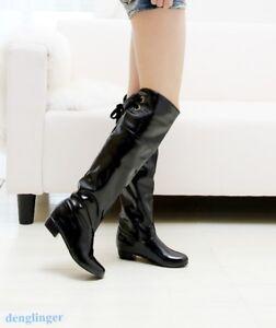 Schick Damen kurz Stiefel Schuhe Lackleder Elegant Blockabsatz Neu Hoher Absatz