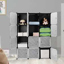 Wardrobe Closet Interlocking Cube Plastic Storage 12 Cube Organizer Cabinet Home