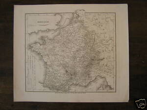 Francia-carta-mappa-antica-Antique-Landkaart-Map-Gallia-France-Reichard-1850