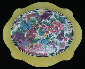 CROWN-DUCAL-TURTLE-SHAPED-TRIVET-OR-STAND-PURPLE-CHINTZ-PATTERN-WITH-YELLOW-BAND